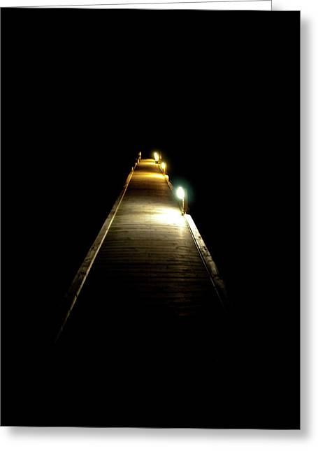 Night Lamp Greeting Cards - Night Jetty Greeting Card by Andrew Dickman