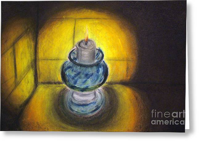 Illuminate Pastels Greeting Cards - Night Light Greeting Card by Popokino Art