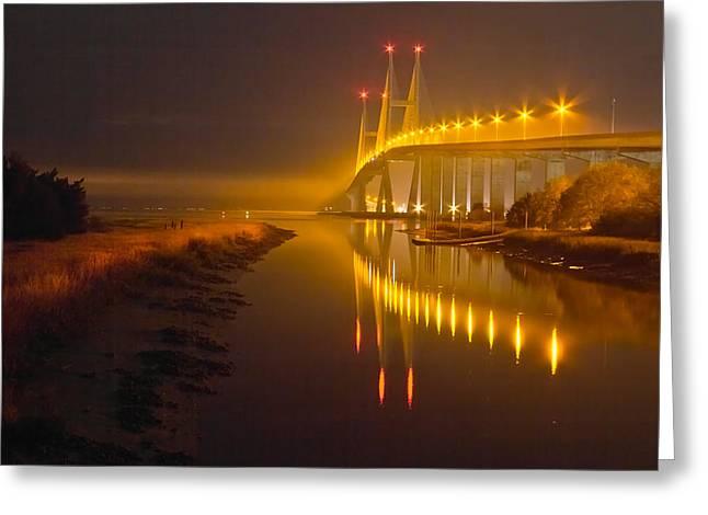 Foggy Ocean Greeting Cards - Night Lights Greeting Card by Debra and Dave Vanderlaan