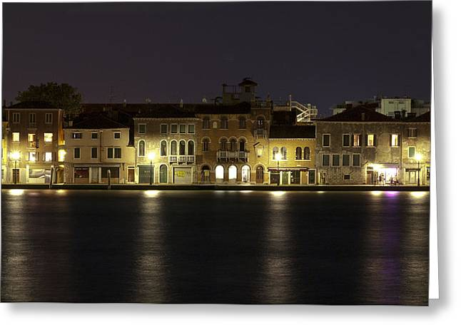 Canale Greeting Cards - Night Lights Greeting Card by Marion Galt