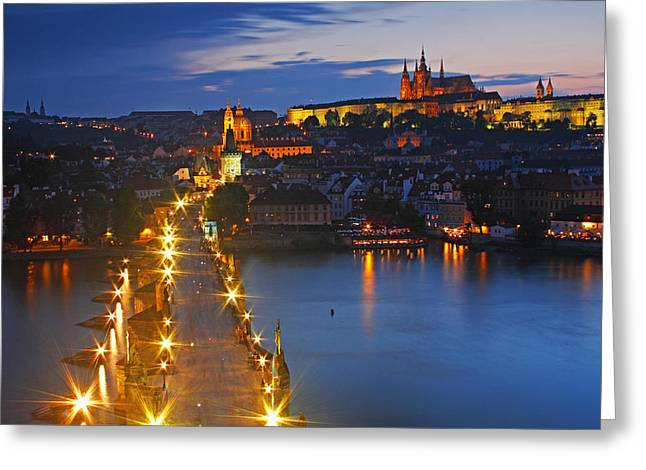 Night Lights Of Charles Bridge Or Greeting Card by Trish Punch
