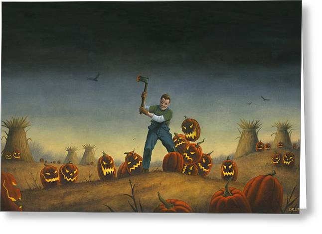 Night Of The Jack-o-lanterns Greeting Card by Stacy Drum