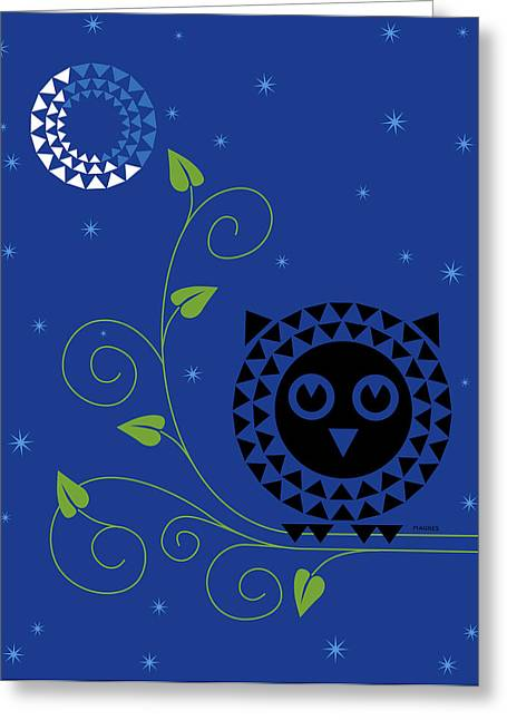 Geometric Animal Greeting Cards - Night Owl Greeting Card by Ron Magnes