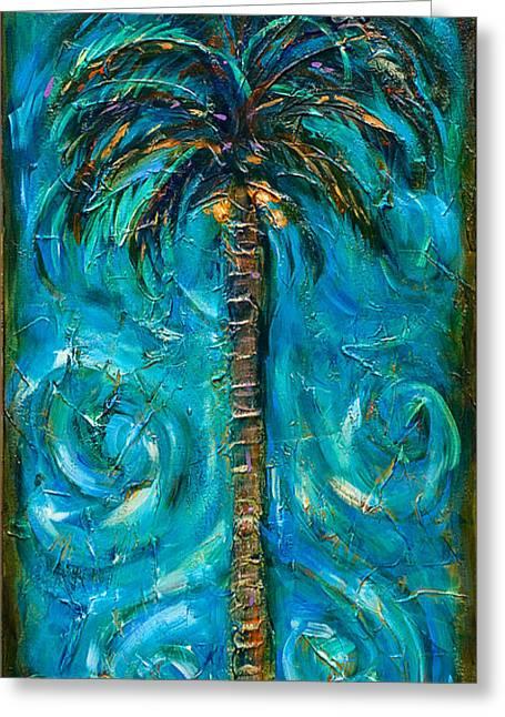Night Palm Greeting Card by Linda Olsen