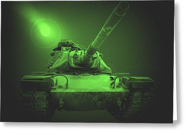 Tank Battalions Greeting Cards - Night Patrol Greeting Card by Betty Northcutt