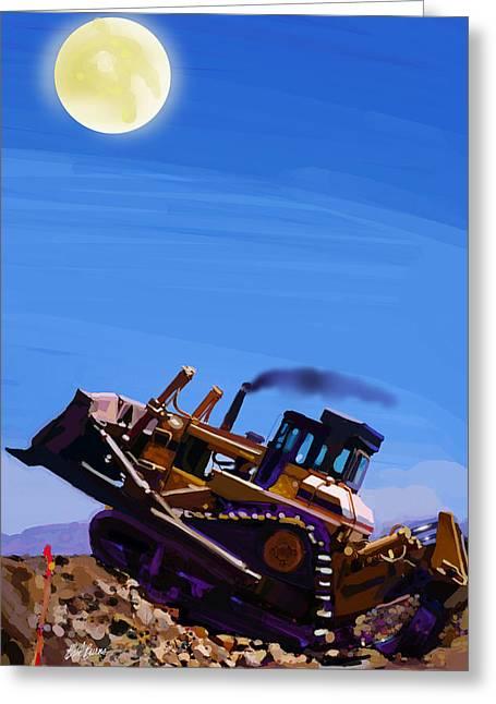 Bulldozer Greeting Cards - Night Push Greeting Card by Brad Burns