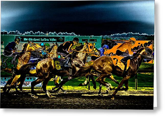 Equus Ferus Greeting Cards - Night Racing Greeting Card by David Patterson