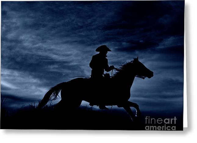 Night Scenes Greeting Cards - Night Rider Greeting Card by Heather Swan
