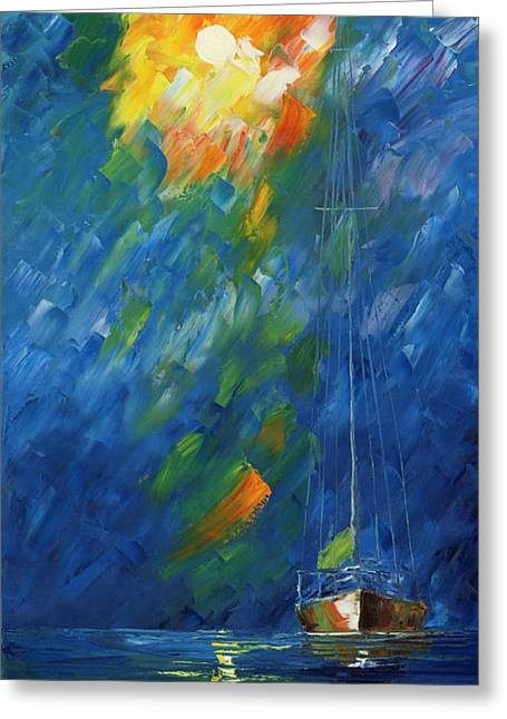 Vela Greeting Cards - Night Sail Greeting Card by Ash Hussein