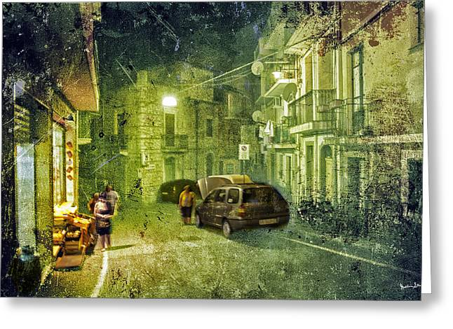 Night Scene In Sicily 2 Greeting Card by Madeline Ellis