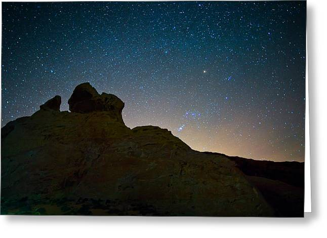 Star Valley Greeting Cards - Night Sky over Valley of Fire Greeting Card by Rick Berk