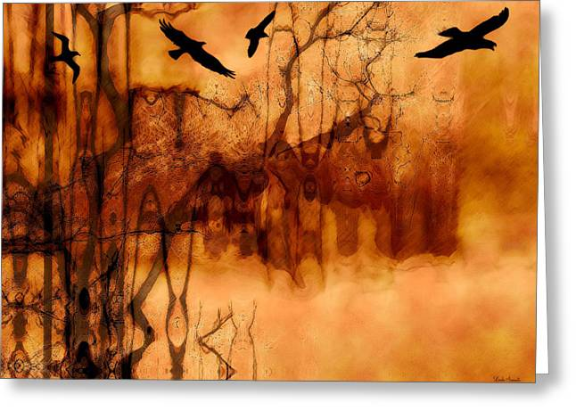 Abstract Expression Greeting Cards - Night Stalkers Greeting Card by Linda Sannuti