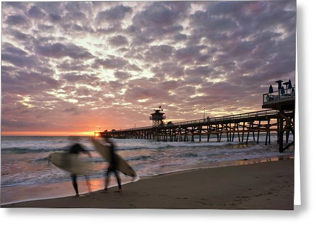 San Clemente California Greeting Cards - Night Surfing Greeting Card by Gary Zuercher