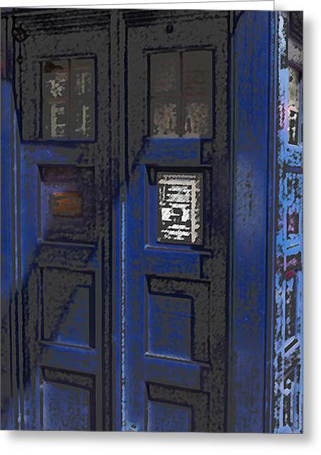 Conversing Digital Art Greeting Cards - Night Tardis Greeting Card by Rhonda Chase
