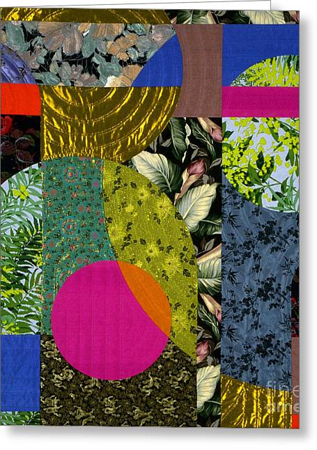 Abstract Quilt Tapestries - Textiles Greeting Cards - Night Thoughts 2 Greeting Card by Marilyn Henrion