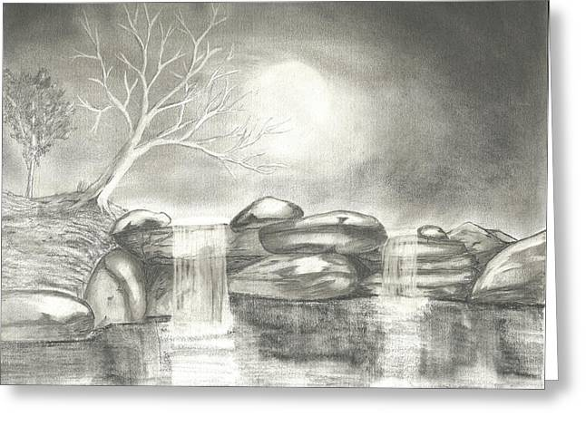 Moonlit Night Drawings Greeting Cards - Night Time Waterfall Greeting Card by Keith Sachs