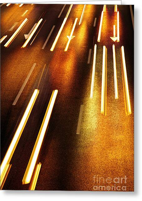 Asphalt Greeting Cards - Night Traffic Greeting Card by Carlos Caetano
