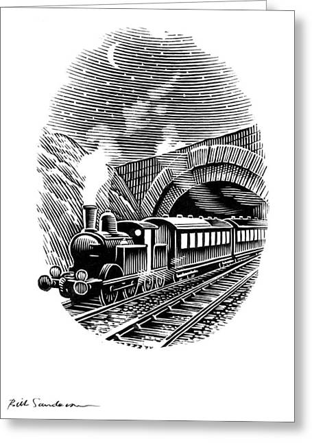 Linocut Greeting Cards - Night Train, Artwork Greeting Card by Bill Sanderson