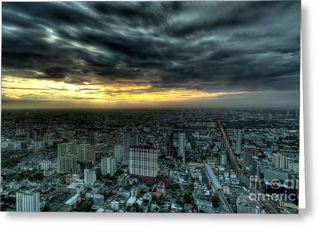 Amazing Sunset Greeting Cards - Night View of Bangkok Greeting Card by Anek Suwannaphoom