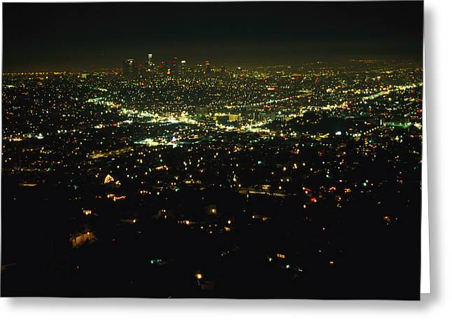 Urban And Suburban Ways Of Life Greeting Cards - Night View Of Los Angeles City Lights Greeting Card by Nadia M.B. Hughes