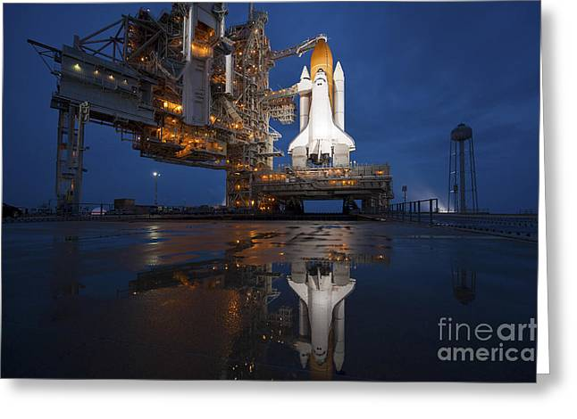 Rocket Boosters Greeting Cards - Night View Of Space Shuttle Atlantis Greeting Card by Stocktrek Images
