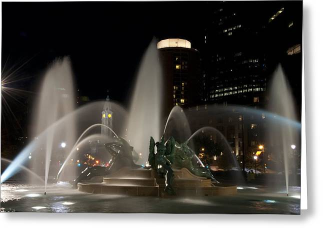 Swann Greeting Cards - Night View of Swann Fountain Greeting Card by Bill Cannon