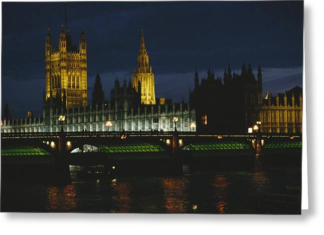 Governmental Greeting Cards - Night view of the Houses Greeting Card by O. Louis Mazzatenta