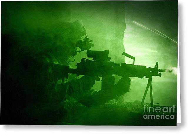 Bipod Greeting Cards - Night Vision View Of A U.s. Army Ranger Greeting Card by Tom Weber