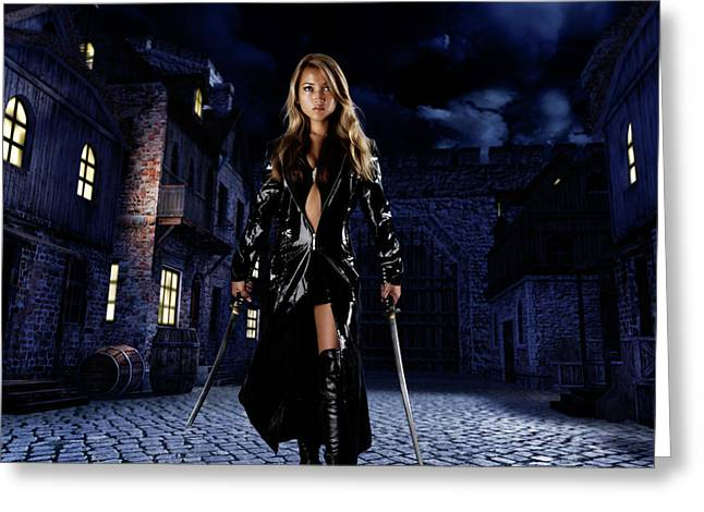 Leather Coat Greeting Cards - Night Warrior Greeting Card by Oleksiy Maksymenko