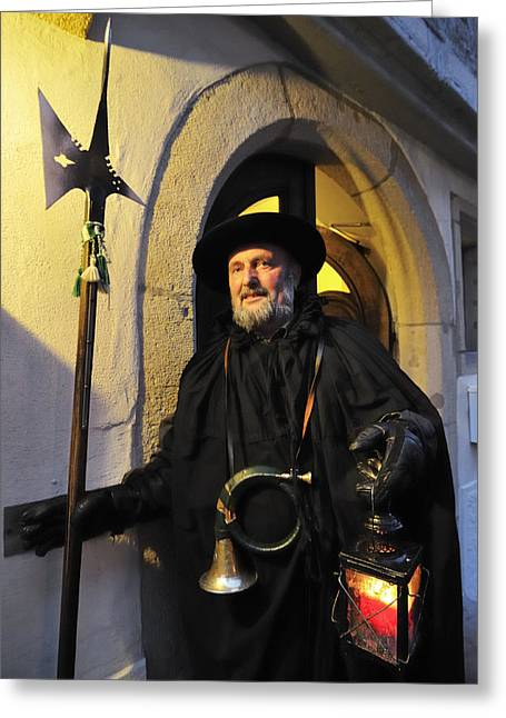 Night Lamp Greeting Cards - Night watchman in old historic town Greeting Card by Matthias Hauser