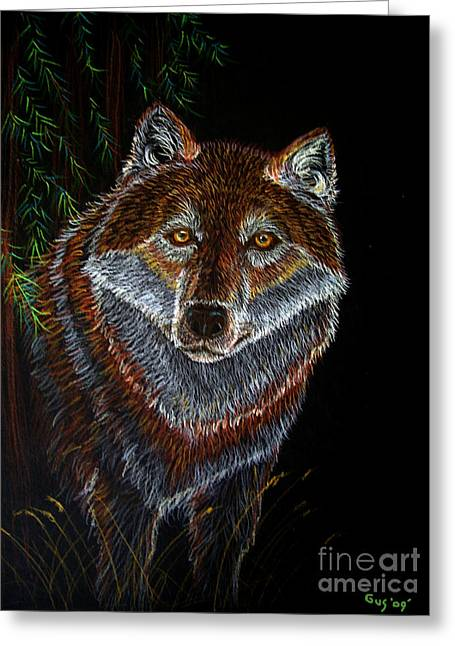 Wolves Drawings Greeting Cards - Night Wolf Greeting Card by Nick Gustafson