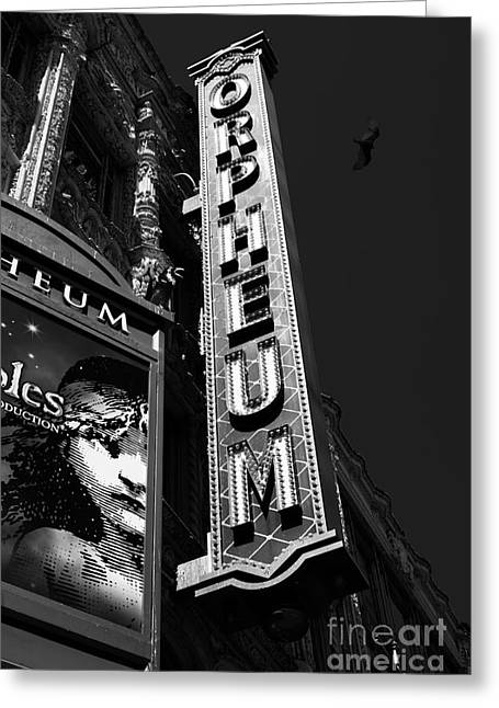 Miserable Greeting Cards - Nightfall at The Orpheum - San Francisco California - 5D17991 - Black and White Greeting Card by Wingsdomain Art and Photography
