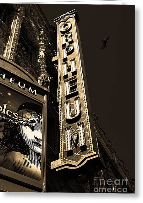 Miserable Greeting Cards - Nightfall at The Orpheum - San Francisco California - 5D17991 - Sepia Greeting Card by Wingsdomain Art and Photography