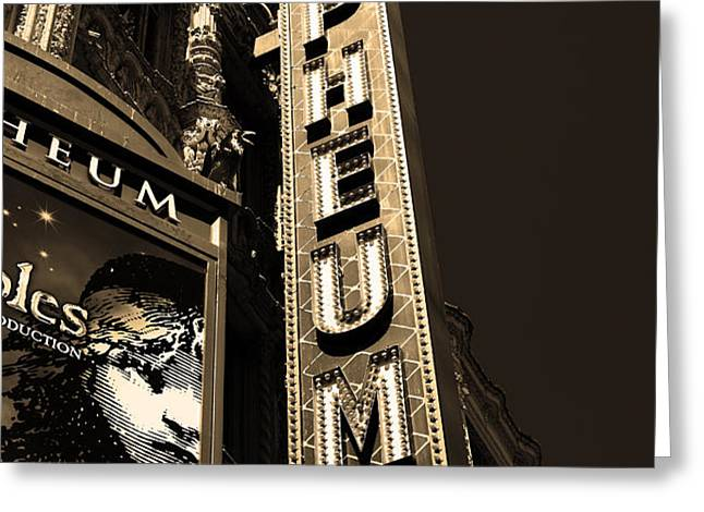 Nightfall at The Orpheum - San Francisco California - 5D17991 - Sepia Greeting Card by Wingsdomain Art and Photography