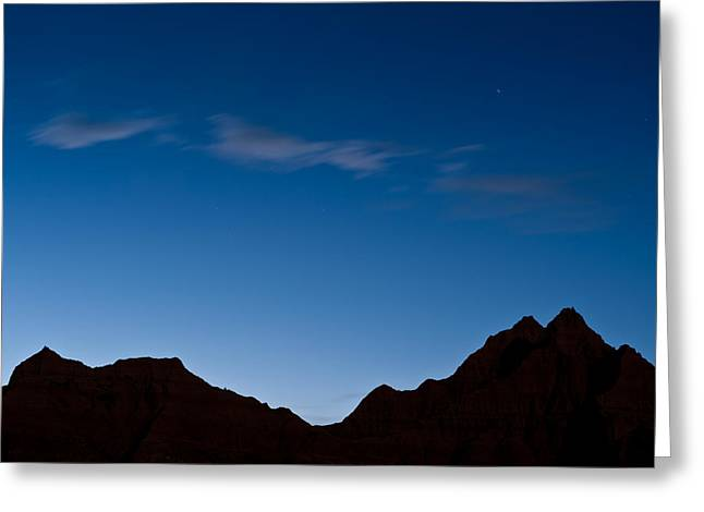 Silhouettes Greeting Cards - Nightfall Badlands South Dakota Greeting Card by Steve Gadomski