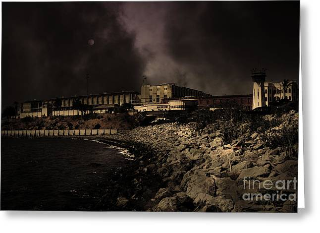 Marin County Greeting Cards - Nightfall Over Hard Time - San Quentin California State Prison - 5D18454 - Partial Sepia Greeting Card by Wingsdomain Art and Photography