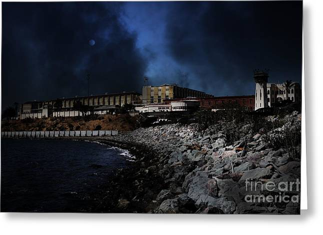 Marin County Greeting Cards - Nightfall Over Hard Time - San Quentin California State Prison - 5D18454 Greeting Card by Wingsdomain Art and Photography