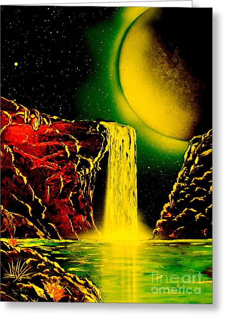 Outer Space Paintings Greeting Cards - NightFalls 4679 Greeting Card by Greg Moores