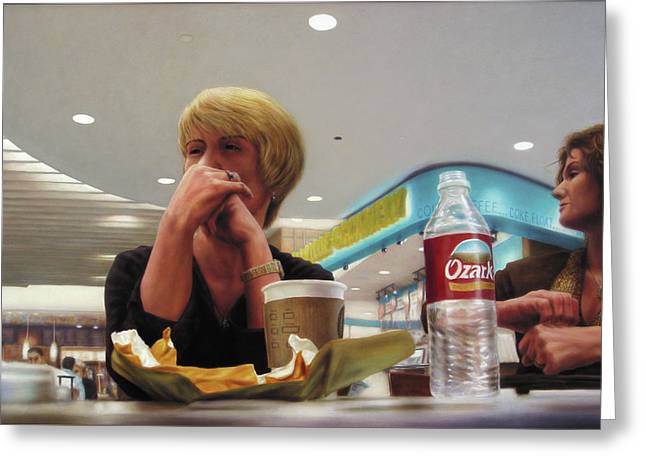 Restaurant Greeting Cards - Nighthawks at the Foodcourt Greeting Card by James W Johnson