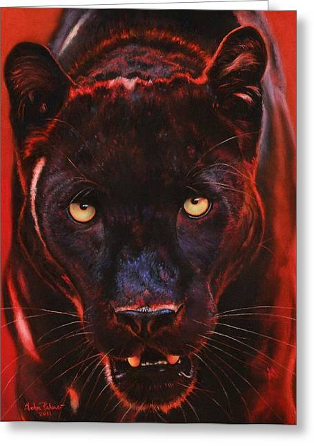 Jaguars Pastels Greeting Cards - Nightstalker  Black Panther version B Greeting Card by John  Palmer