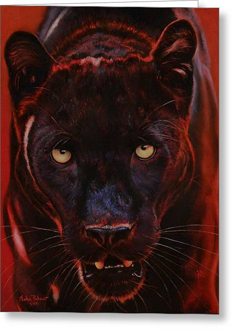 Jaguars Pastels Greeting Cards - Nightstalker  Black Panther version D Greeting Card by John  Palmer