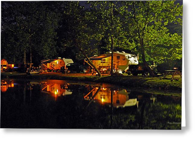Kay Lovingood Greeting Cards - Nighttime in the Campground Greeting Card by Kay Lovingood