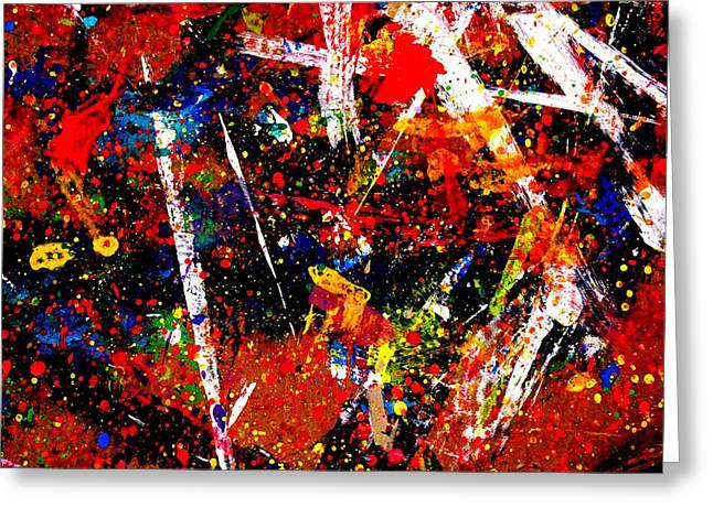 Abstract Painter Greeting Cards - Nighttown Music I Greeting Card by John  Nolan