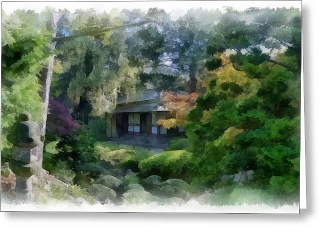 Best Sellers -  - Bamboo House Greeting Cards - Nihon Teien 1 aquarell Greeting Card by Wessel Woortman