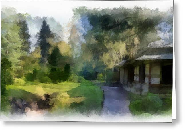 Bamboo House Greeting Cards - Nihon Teien 3 aquarell Greeting Card by Wessel Woortman