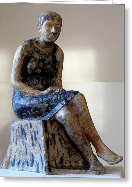 Sculptures Ceramics Greeting Cards - Nijole Greeting Card by Raimonda Jatkeviciute-Kasparaviciene