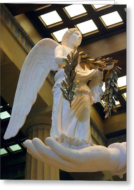 Greek Goddess Nike Greeting Cards - Nike Goddess of Victory Greeting Card by Linda Phelps