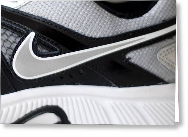 Straps Greeting Cards - Nike Shoe Greeting Card by Malania Hammer