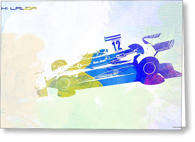 Cylinder Greeting Cards - Niki Lauda Greeting Card by Naxart Studio