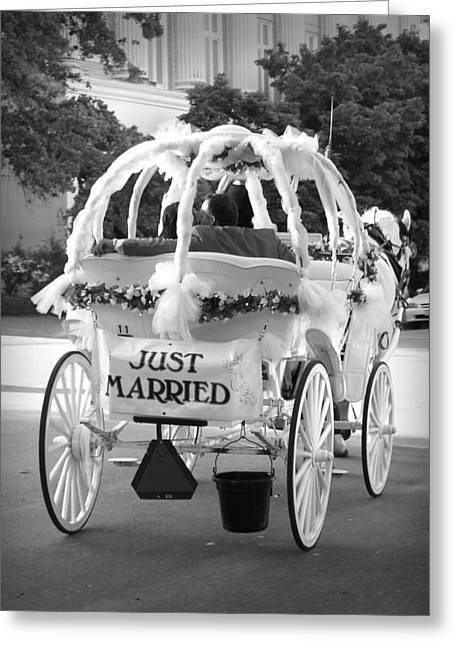 Horse And Buggy Greeting Cards - Nikki and Kris Just Married Greeting Card by James Granberry